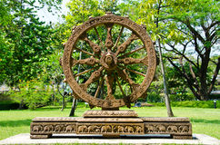 Wheel of dhamma of buddhism Royalty Free Stock Photography
