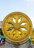 Wheel of dhamma of buddhism. Royalty Free Stock Image