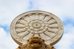 Wheel of Dhamma in Buddism religion. On the lion head with cloudy background Stock Images