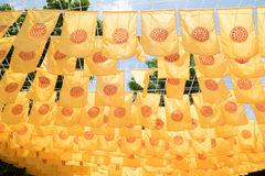 Wheel of Dhamma Flags Dharmachakra Stock Photography