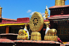The wheel of dharma and double deer. Are essentila for the monastery buidings Royalty Free Stock Photos