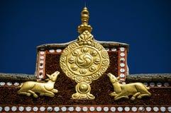 Wheel of Dharma and golden deers Stock Photography