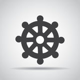 Wheel of Dharma icon with shadow on a gray background. Vector illustration. Wheel  of Dharma icon with shadow on a gray background. Vector illustration Royalty Free Stock Photo