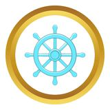 Wheel of Dharma vector icon. In golden circle, cartoon style isolated on white background Stock Photo
