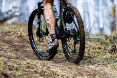 Wheel dirt bicycle after the race Royalty Free Stock Photo