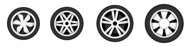 Wheel disk with tyre. Stock Photos