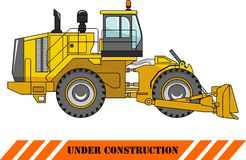 Wheel dozer. Heavy construction machine. Vector Royalty Free Stock Image