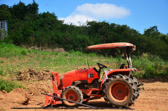 Wheel Dozer tractor in natural and mountain Stock Images