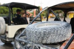 Offroad car in focus and blur cars at back. 4 wheel drive buggy car parked for rent in the port Costa Maya Royalty Free Stock Photography