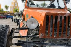 Offroad car in focus and blur cars at back. 4 wheel drive buggy car parked for rent in the port Costa Maya Stock Images