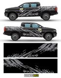 4 wheel drive truck and car graphic vector. Splash pattern abstract lines with black background design for vehicle sticker wrap