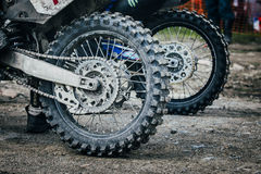Wheel of  enduro bike Royalty Free Stock Photography