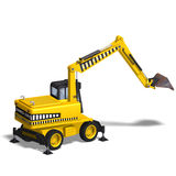 Wheel excavator. Rendering of a wheel excavator with Clipping Path and shadow over white Royalty Free Stock Photos
