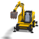 Wheel excavator. Rendering of a wheel excavator with Clipping Path and shadow over white Stock Photography