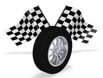 Wheel with finish flag. On white Stock Image