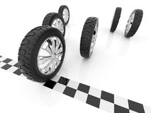 Wheel. Finish of race. 3D, Isolated Stock Photos