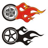 Wheel with fire. Icon on white Royalty Free Stock Images