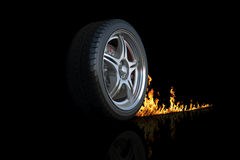 Wheel and fire. Isolated black Stock Photos