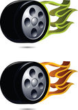 Wheel on fire. Stock Images