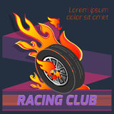Wheel fire emblem. Isometric signs sports club Stock Images