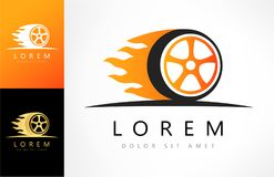 Wheel in Fire flame logo vector. Logo design vector illustration Royalty Free Stock Photography