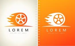 Wheel in Fire flame logo vector. Logo design vector illustration Stock Photo