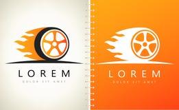Wheel in Fire flame logo vector. Logo design vector illustration Stock Photography