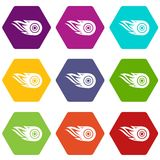 Wheel fire icons set 9 vector. Wheel fire icons 9 set coloful isolated on white for web Stock Images