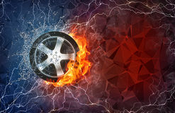 Wheel in fire and water. Wheel on fire and water with lightening around on abstract polygonal background. Horizontal layout with text space Stock Images