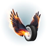 Wheel with fire wings. On white background Stock Images