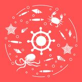 Wheel, fish, seashells, starfish, crab, octopus. Steering wheel and sea inhabitants: fish, seashells, starfish, crab, octopus. Design for banner, poster or Royalty Free Stock Images