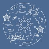 Wheel, fish, seashells, starfish, crab, octopus. Steering wheel and sea inhabitants: fish, seashells, starfish, crab, octopus. Design for banner, poster or Royalty Free Stock Photography