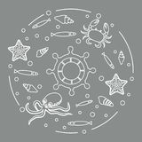 Wheel, fish, seashells, starfish, crab, octopus. Steering wheel and sea inhabitants: fish, seashells, starfish, crab, octopus. Design for banner, poster or Royalty Free Stock Photo