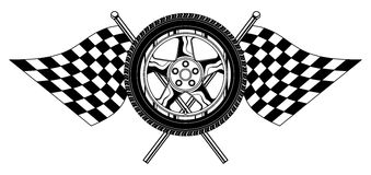 Wheel With Flags. Illustration of a wheel with racing flags design. Great for t-shirts designs and other automobile racing designs Stock Photography