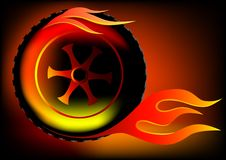 Wheel in flame. Vector drawing burning wheel. Fast driving and fire Royalty Free Stock Photo
