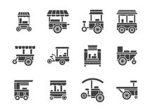 Wheel food stall glyph style icons set. Wheel trolley and equipment for street vending and fast food. Mobile wheel shops, cart stalls. Collection of symbolic Stock Images