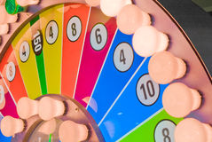 Wheel of fortune. Colorful wheel of fortune with lightbulbs Royalty Free Stock Images