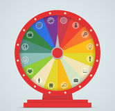Wheel of Fortune with business icons. Illustration Stock Photos