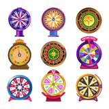 Wheel of fortune casino roulette vector icons royalty free illustration