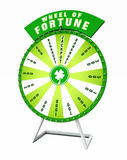 Wheel of fortune. 3d illustration of green wheel of fortune with four leaf clover and different prizes, white background Stock Photo