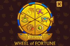 Wheel of fortune in egyptian style for UI game and casino. Vector Icons on separate layers. Wheel of fortune in egyptian style for UI game and casino. Vector royalty free illustration