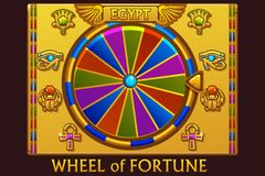 Wheel of fortune in egyptian style for UI game and casino. Vector Icons on separate layers. Wheel of fortune in egyptian style for UI game and casino. Vector stock illustration