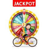 Wheel of Fortune with Jackpot Title and Happy Woman Waving on Bicycle Isolated. On White Background stock illustration