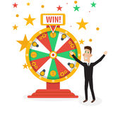 Wheel of fortune with man. Vector illustration Royalty Free Stock Photos