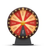 Wheel of fortune with money prizes. Isolated on white Stock Photo