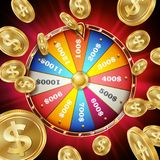 Wheel Of Fortune Poster Vector. Spinning Lucky Roulette. Gambling Background. Bright Lottery Leisure Casino Illustration. Fortune Wheel Poster Vector. Spinning Stock Photos