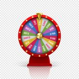 Wheel of fortune roulette vector gambling lottery. Wheel of fortune roulette for gambling lottery game. Vector gamble game of chance disk with win-win chance royalty free illustration