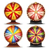 Wheel Of Fortune Set Vector. Gamble Chance Leisure. Win Fortune Roulette. Colorful Wheel. Spinning Lucky Roulette. Isolated Background Illustration stock illustration