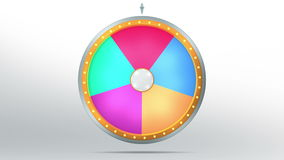 Wheel fortune with 5 space. The wheel of fortune or Lucky spin animation was created by Three Dimensional. Video is included the alpha channel and motion loop Stock Illustration