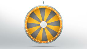 Wheel fortune with 16 space. The wheel of fortune or Lucky spin animation was created by Three Dimensional. Video is included the alpha channel and motion loop Royalty Free Illustration